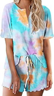 Ekouaer Tie Dye Pajamas Set Womens Loungewear Sleepwear 2 Piece PJ Sets, Appealing 8, Medium