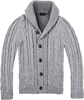 BOTVELA Men's Shawl Collar Cardigan Sweater Button Front Solid Knitwear