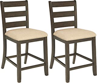 Ashley Furniture Signature Design - Rokane Upholstered Barstool - Set of 2 - Casual Style - Brown