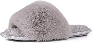 Women's Fuzzy Faux Fur Memroy Foam Flat Spa Slide...