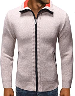 Men's Coat Plain Cardigan Sweater Long Sleeve Stand Collar Zippered Fashion Pure Color Jacket Tops