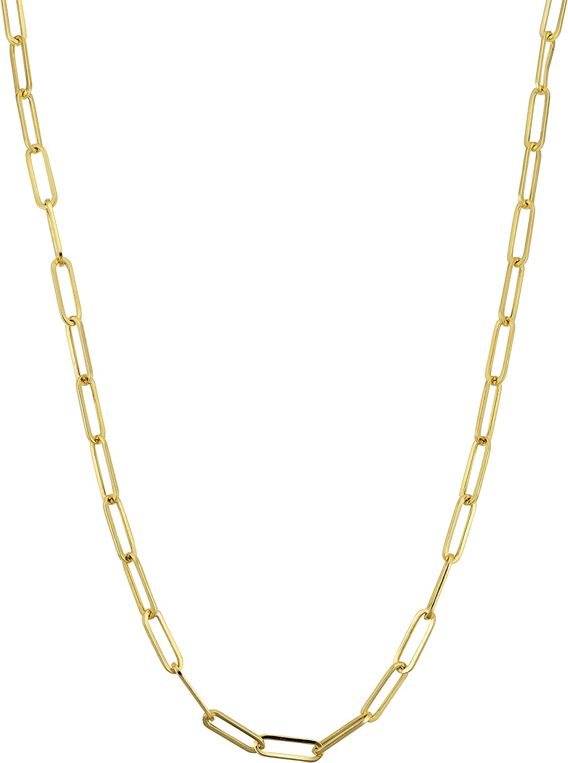 Amanda Rose 14k Yellow Gold 3 mm Paperclip Chain Necklace for Women (Choose your length)