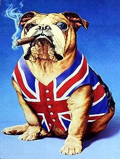 Ohuu British Bulldog Iron Sheet Beer Bar Vintage Decoration Sign Metal Rock Roll Wall Sign Funny Retro Plaque Art Crafts Cafe Hanging Artwork Samp Poster Painting 8×12inch