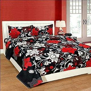 DOLLY HANDLOOM Polyester & Polyester Blend 180 TC Bedsheet (Double_Black)