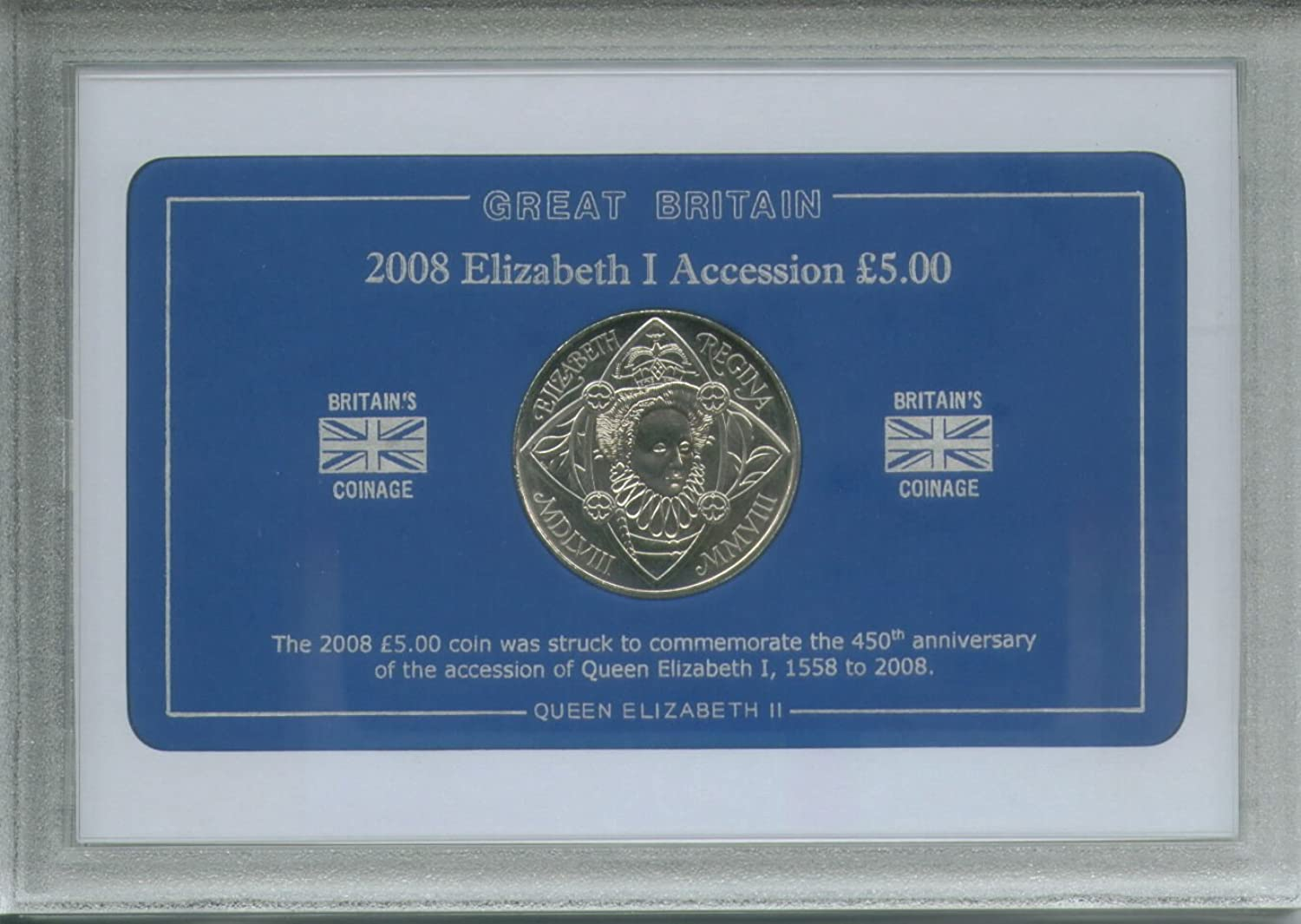 2008 450th Anniversary of the Accession of Queen Elizabeth I 1558 to 2008 Commemorative £5 Coin Collector Gift Set
