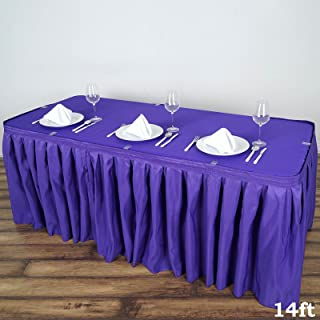 BalsaCircle 14 feet x 29-Inch Purple Polyester Banquet Table Skirt Linens Wedding Party Events Decorations Kitchen Dining Catering