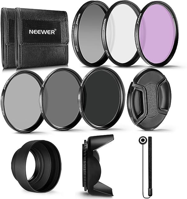 Neewer 55mm Profesional UV CPL FLD Lente Filtro y Filtro de Densidad Neutra (ND2 ND4 ND8) Kit de Accesorios para Sony A7 A7III A6000 A6500