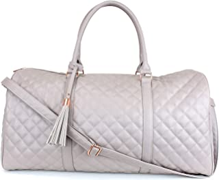 Women's Quilted Leather Weekender Travel Duffel Bag With Rose Gold Hardware - Large 22