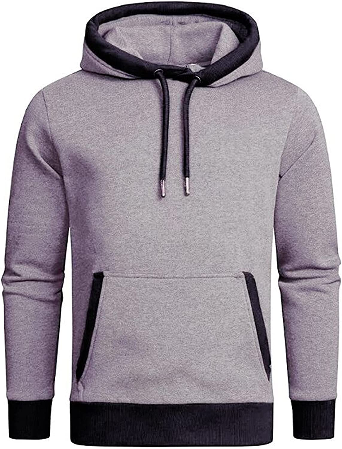XXBR Hoodies for Mens, Drawstring Cowl Neck Hooded Sweatshirts Color Block Patchwork Sports Workout Casual Pullover
