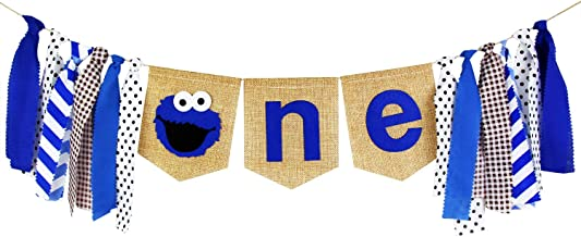 Ecore Fun 1st Birthday Party Decoration Supply Burlap High Chair ONE Banner for Baby Boy - Blue Elmo Theme
