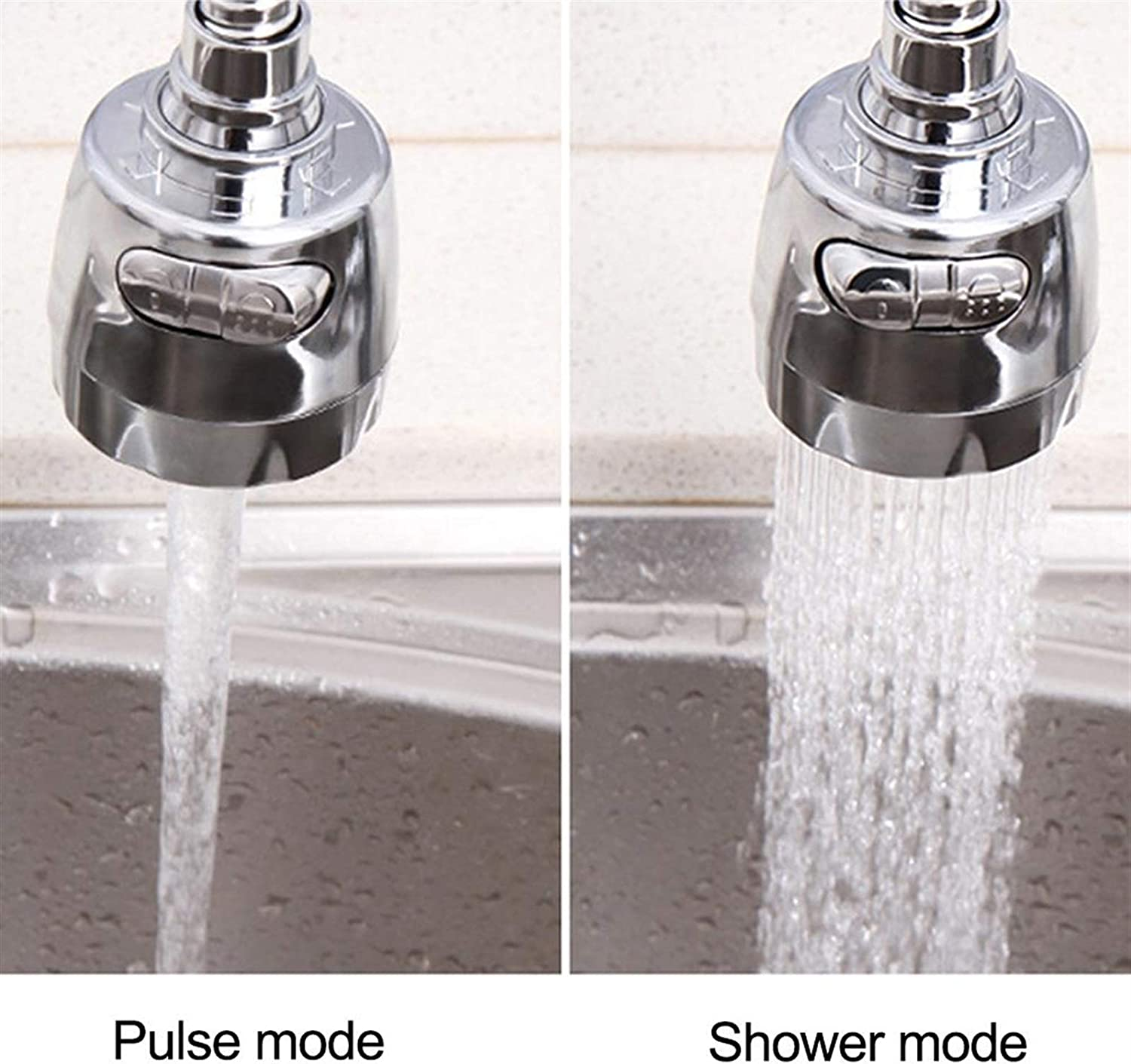 Color : Silver ZHENGYAQI-PHONE CASE Rotatable Adjustable Stainless Steel Splash-Proof Faucets Bubbler Rotatable Aerator Water Saving Tap Nozzle Filter for Kitchen Bathroom