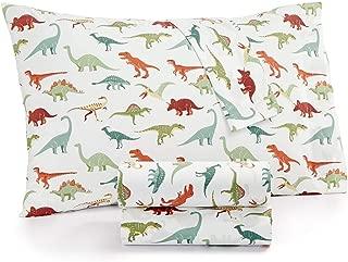 Kids Zone Dinosaur Sheet Set with T-Rex, Brontosaurus, Stegosaurus and More