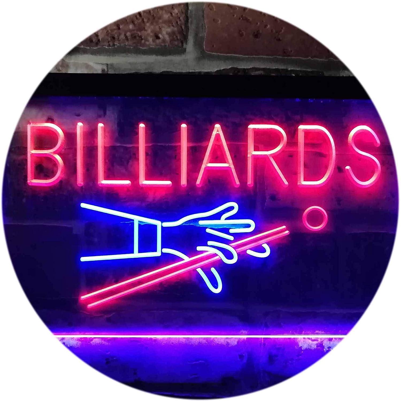 ADVPRO Billiards Pool Room Snooker Plaque Dual Farbe LED Barlicht Neonlicht Lichtwerbung Neon Sign Blau & rot 400mm x 300mm st6s43-i0309-br