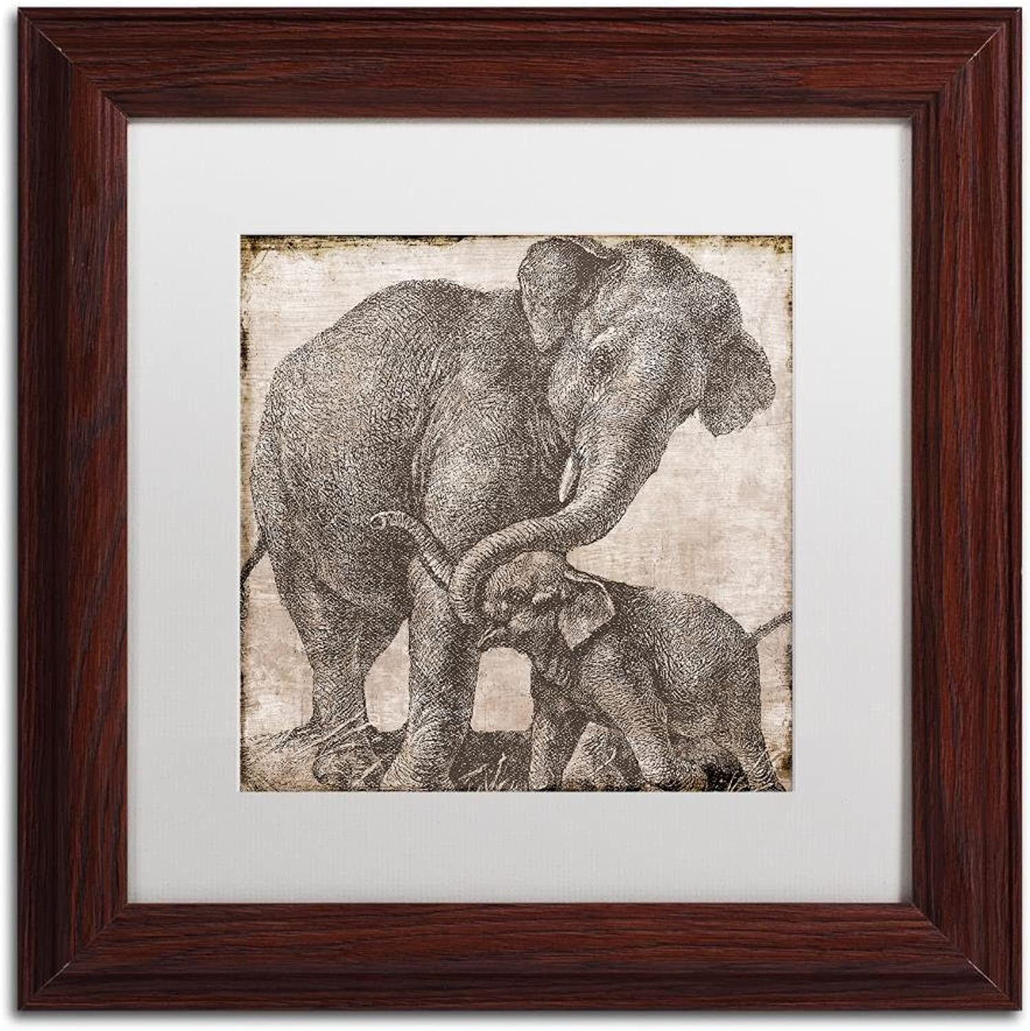 Trademark Fine Art Elephant 2 by color Bakery, White Matte, Wood Frame 11x11, Wall Art