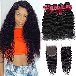 Brazilian Deep Wave Bundles with Closure 9A Unprocessed Virgin Human Hair Curly Bundles with Closure (14 16 18+12) Deep Curly Bundles with Closure 4x4 Free part Natural Color