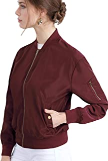 Lock and Love Women's Classic Lightweight Jacket Multi Pocket Windbreaker Bomber Jacket