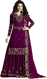 KHUSHI FEB Women's Faux Gerogette Embroidered Sharara Salwar Suit Palazzo With Duppata Semi-Stitched Material