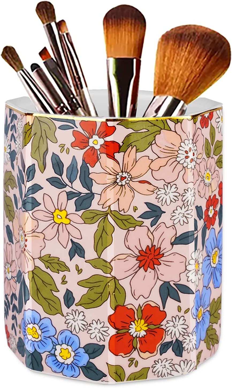 Jwest Pen Holder, Makeup Brush Holder Ceramic Shiny Gold Vintage Floral Flowers Pattern Pencil Cup for Girls Kids Women Durable Stand Desk Organizer Storage Gift for Office, Classroom, Home Pink