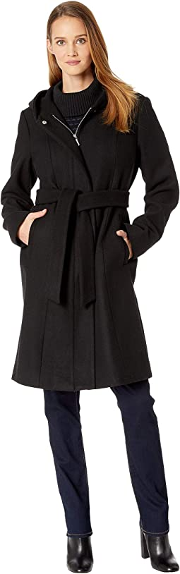 Belted Hooded Wool Coat R8391