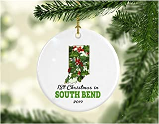 First Christmas in Our New Home 2019 South Bend Indiana Ornament Collectible 1st Season Living in IN USA Decorations Tree Housewarming Gift, Homeowner Present Ceramic 3