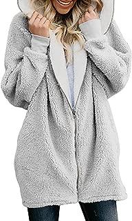 Women Sherpa Sweatshirt Zip Up Fleece Hoodie Fuzzy Coat