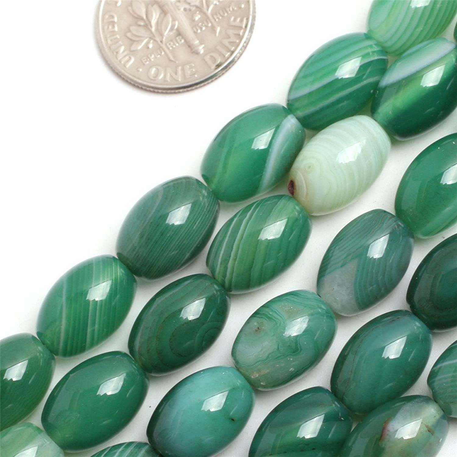 GEM-inside Green Agate Gemstone Loose Beads Natural 8x12mm Crystal Energy Stone Power For Jewelry Making 15''