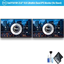 """$282 » Dell P2419H 23.8"""" 16:9 Ultrathin Bezel IPS Monitor (No Stand) Dual Monitor Set with Deluxe Cleaning Kit"""