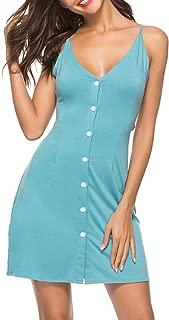 Women's Casual Beach Summer Dresses Spaghetti Strap Button Down Tie Backless Boho Mini Sundress