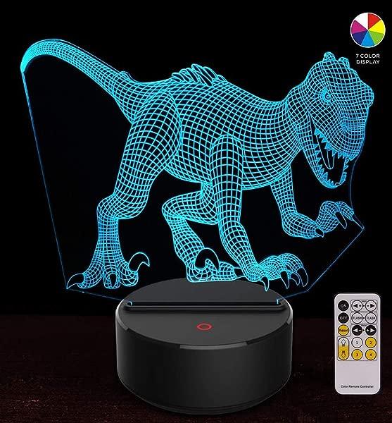 IVATA 恐龙 3D 夜灯儿童生日 Indoraptor 玩具 3D 幻想灯 Led 动物灯礼物男孩家庭卧室派对供应装饰 7 色远程猛禽 1 远程
