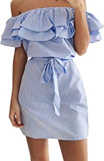 Hot Selling Dacawin Women Summer Striped Off The Shoulder Ruffle Dress with Belt (Blue, M)