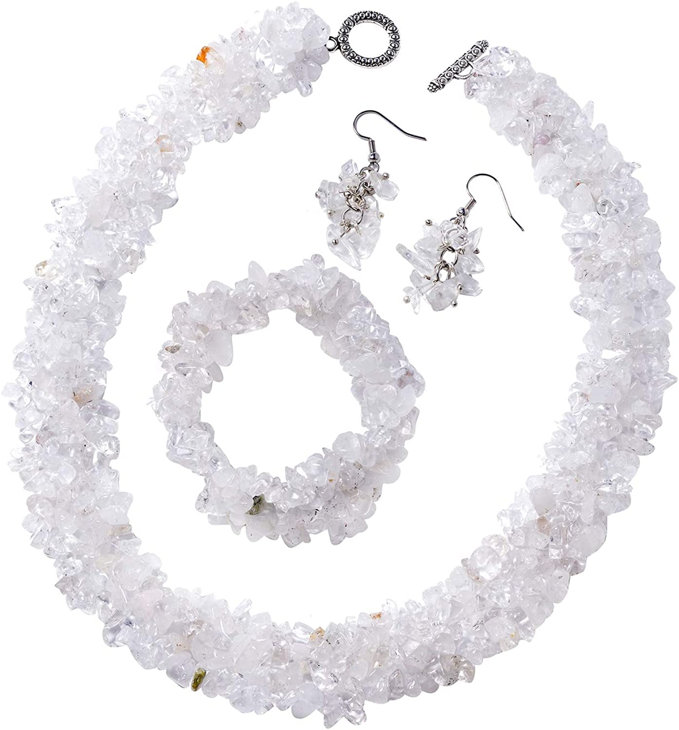 Shop LC White Crystal Quartz Chips Stainless Steel Earrings, 6.5 Inches Bracelet and 18 Inches Necklace Set Unique Gifts for Women