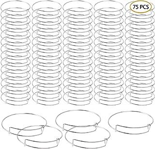 UPINS 75 Pcs Expandable Bangle Blank Bracelets Metal Adjustable Wire Bracelets for Women Jewelry Making, Silver