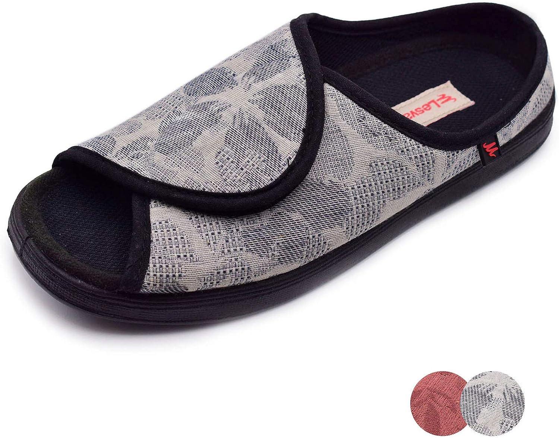 NKeepB Woman Adjustable Width Open Toe Sandals Diabetic shoes, Arthritis Edema Slippers for Elderly Women