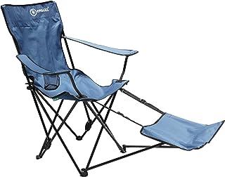 Homecall - Silla de camping plegable con respaldo ajustable y reposapiés (azul)