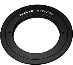 Neewer® Aluminum Alloy Lens Mount Adapter for M42 Lens to Canon EOS Camera, Such as 1d/1ds, Mark II, III, 5D, Rebel xt, xti, T2i, and More - Black