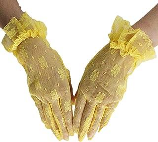 Women's Vintage Short Floral Lace Wedding Gloves 2018 Lace Finger Prom Gloves
