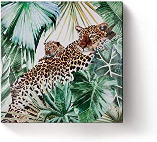 Jungle Cheetah Family Wall Art Canvas Hand Painted Oil Painting for Home Office Decoration - Framed - 12x12in