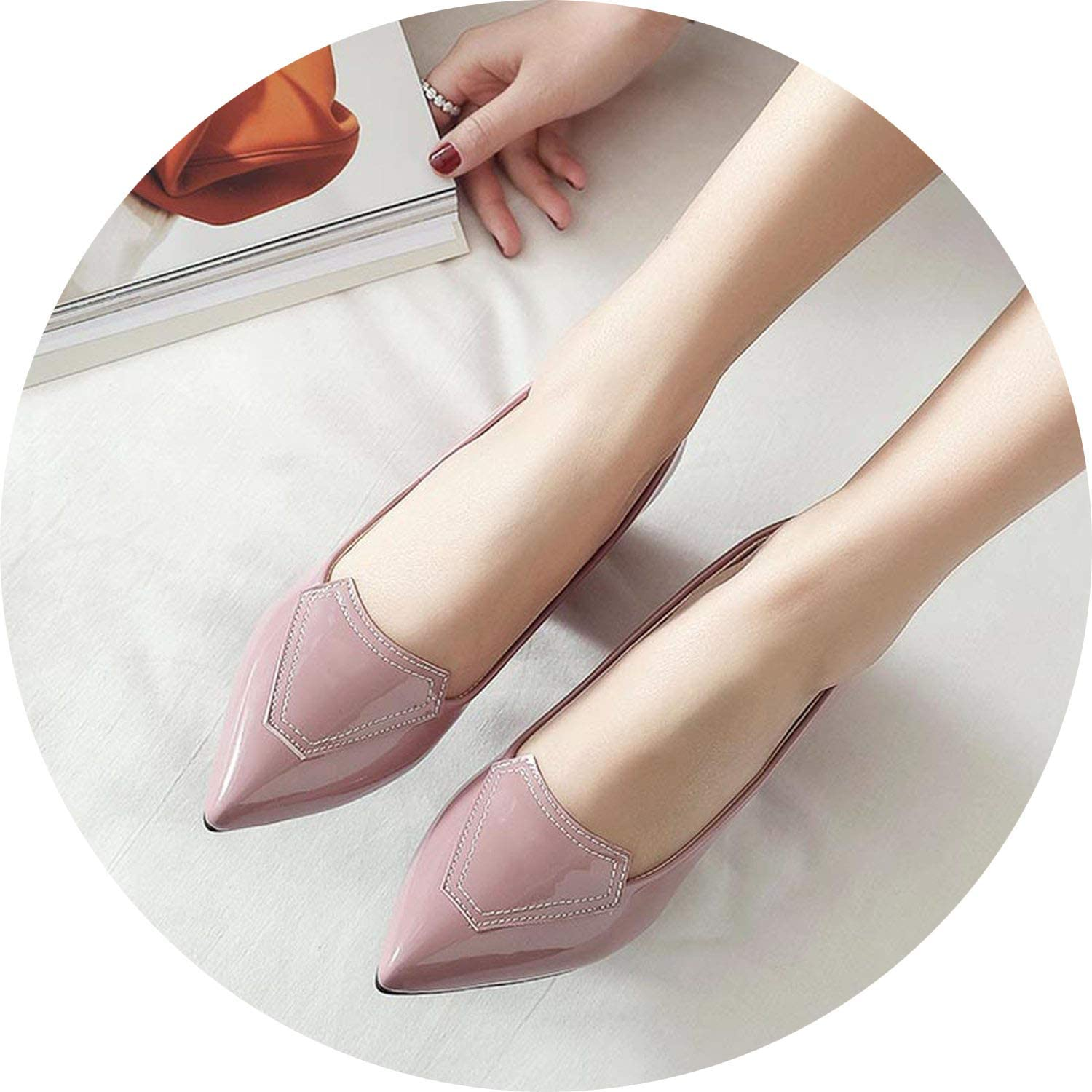 FINDYOU Women Pumps Thick Heel Wedding Party shoes Women OL Pointed Toe 7CM High Heel Pumps Red Black Pink shoes