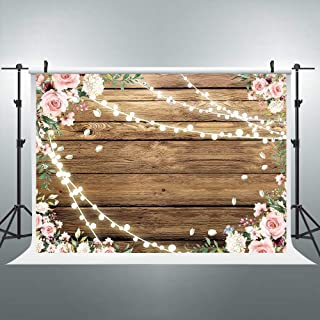 Riyidecor Rustic Pink Flowers Floral Shiny Light Brown Wood Wooden Backdrop Wedding 7x5 Feet Photography Background Bridal Anniversary Decorations Banner Props Studio Photo Shoot Vinyl Cloth