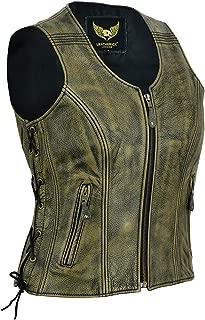 Genuine Top Grain Cowhide Vintage Ladies Biker Leather Vest Distressed Brown