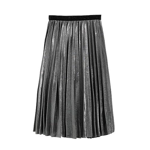 d7bf719b1d4e PanDaDa Womens Metallic Pleated Midi Skirt for School Office