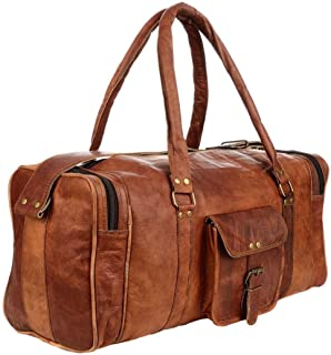 21 Inch Vintage Leather Duffel Travel Gym Sports Overnight Weekend Luggage Carry On SALE