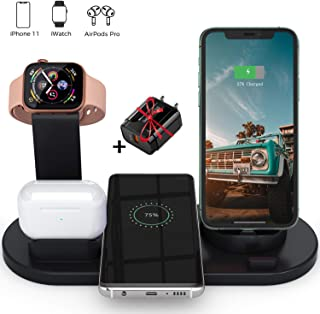 Lukkahh Wireless Charger, 4 in 1 Wireless Charging Station for Apple Watch and Airpods Pro, Charger Stand for Multiple Devices, Qi Fast Wireless Charging Dock for iPhone 11/11 Pro Max/X/XS/XS/8/8 Plus