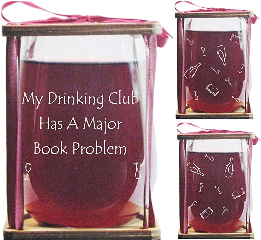Book Club My Drinking Club Has A Major Book Problem 360 Degrees Engraved Stemless Wine Glass