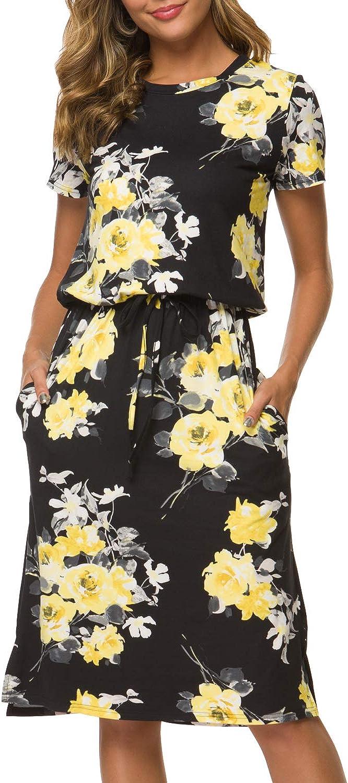 Simier Fariry Women's Adjustable Waist Midi Dress with Pockets