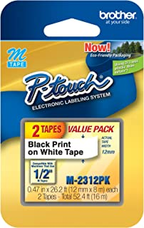 Brother Genuine P-Touch M-2312PK Tape, 2 Pack, 1/2