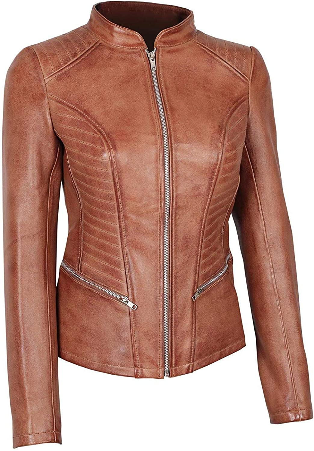 Blingsoul Brown Womens Leather Jacket - Motorcycle Real Lambskin Leather Jackets For Women