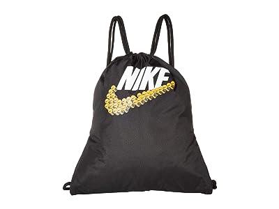 Nike Kids Graphic Gym Sack (Little Kids/Big Kids) (Black/Black/White) Bags