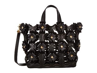 ZAC Zac Posen Floral Love Shopper Solid (Black) Handbags