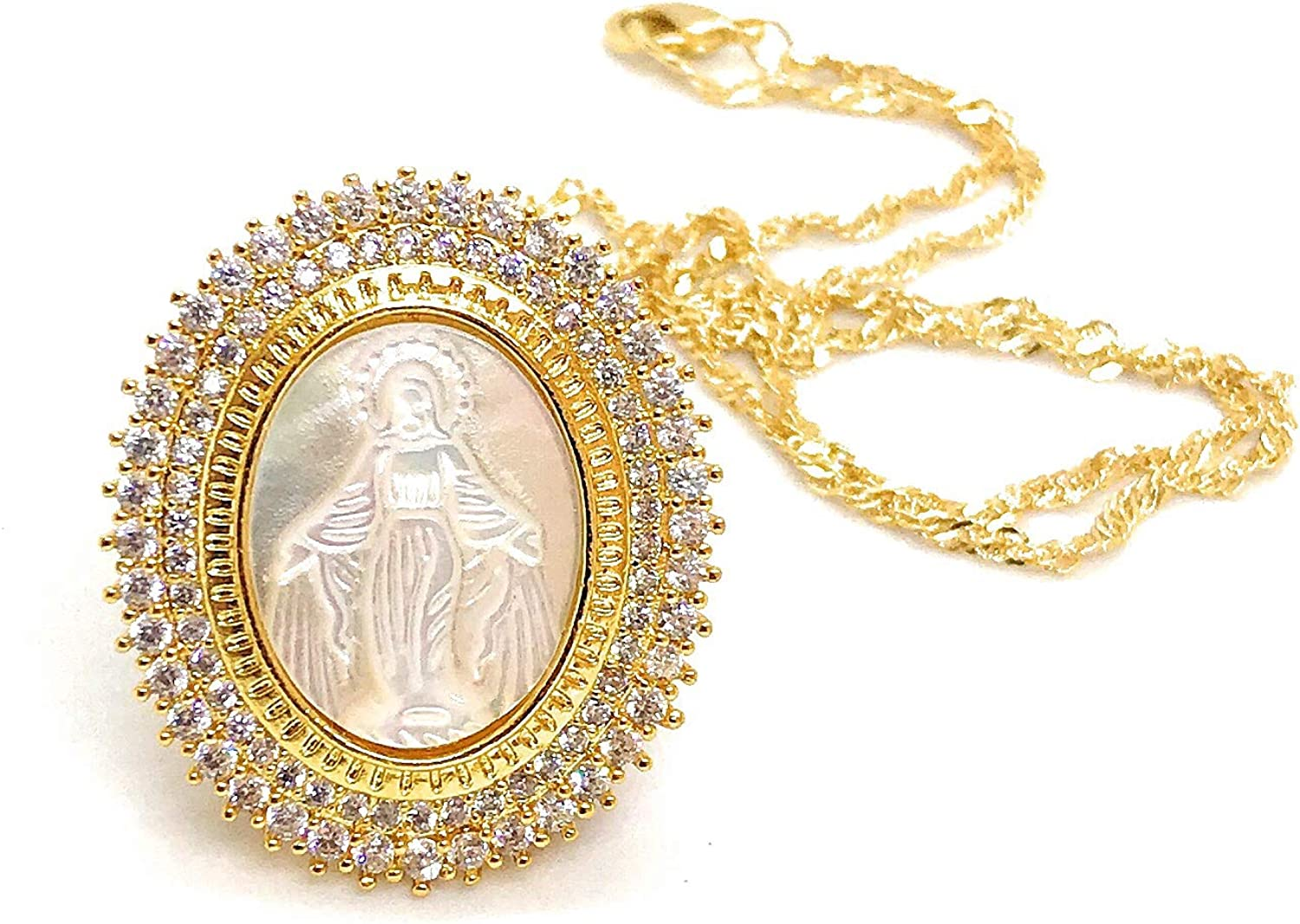 Miraculous Medal Mother Of Pearl Pendant Necklace 18K Gold Plated